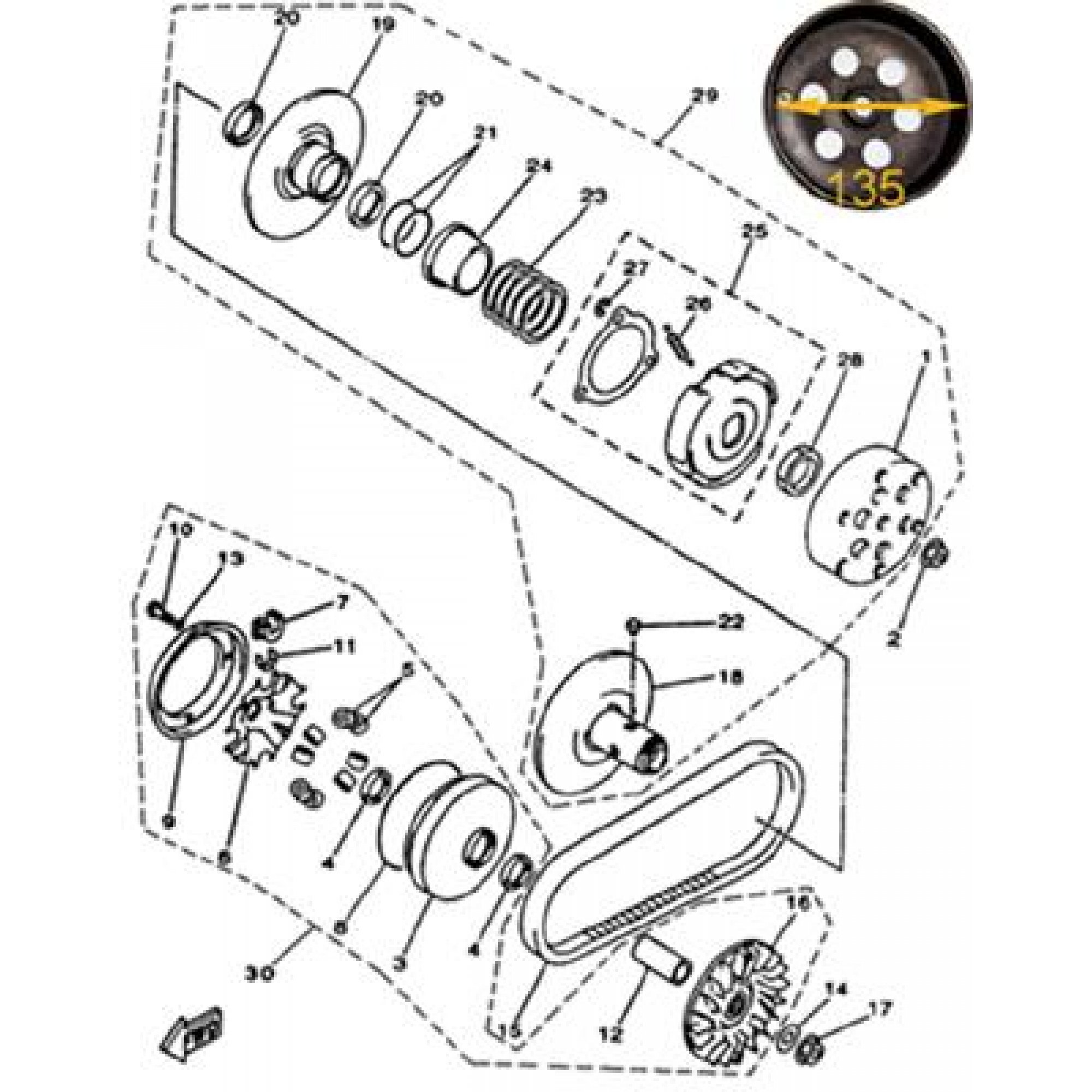 CLUTCH WITHOUT HIGH-POWER CLUTCH